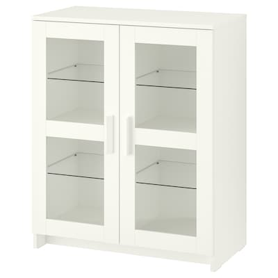 """BRIMNES cabinet with doors glass/white 30 3/4 """" 16 1/8 """" 37 3/8 """" 11 lb"""