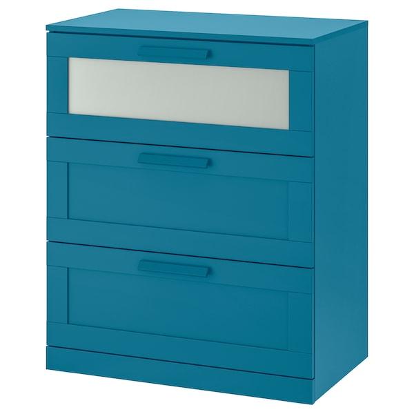 Brimnes 3 Drawer Chest Dark Green Blue
