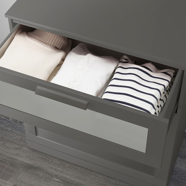 """BRIMNES 3-drawer chest gray/frosted glass 30 3/4 """" 18 1/8 """" 37 3/8 """" 27 1/2 """" 14 1/8 """""""