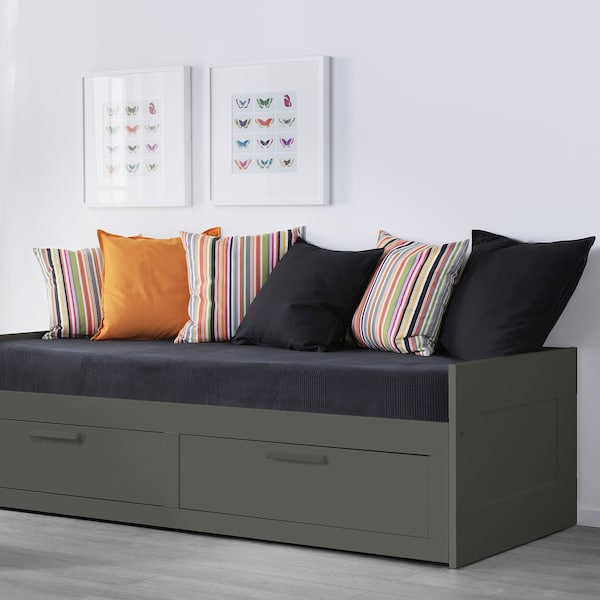 BRIMNES Daybed frame with 2 drawers, gray, Twin