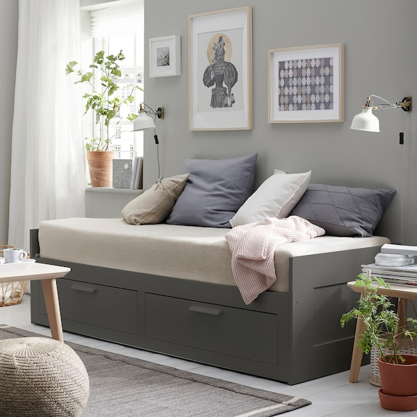 BRIMNES Daybed with 2 drawers/2 mattresses, gray/Meistervik firm, Twin