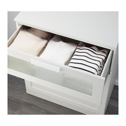 BRIMNES 3-drawer chest - white/frosted glass - IKEA
