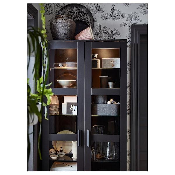 """BRIMNES Glass-door cabinet, black, 31 1/2x74 3/4 """""""
