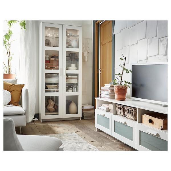 "BRIMNES Glass-door cabinet, white, 31 1/2x74 3/4 """