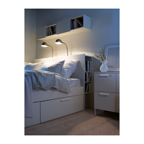 BRIMNES Headboard with storage compartment IKEA Perfect for things you want to reach from your bed. One shelf is adjustable to 3 different positions.