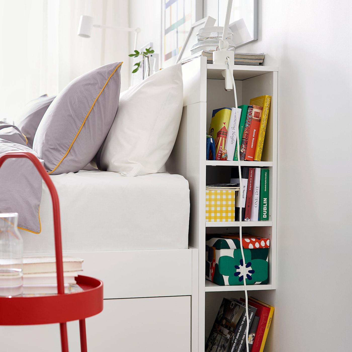 Brimnes Headboard With Storage Compartment White Queen Ikea