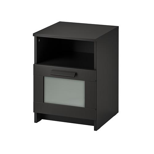 BRIMNES Nightstand, black black 15 3/8x16 1/8