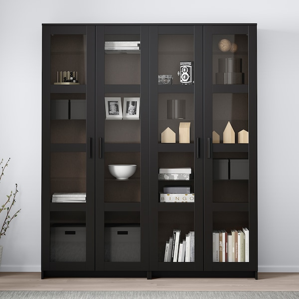 BRIMNES Storage combination w/glass doors, black, 63x13 3/4x74 3/4 ""