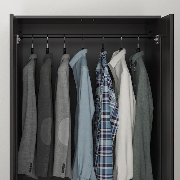 "BRIMNES Wardrobe with 2 doors, black, 30 3/4x74 3/4 """