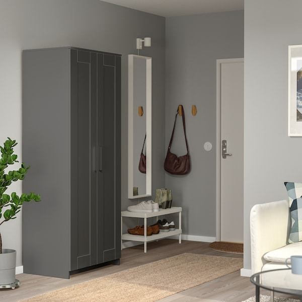 "BRIMNES Wardrobe with 2 doors, gray, 30 3/4x74 3/4 """