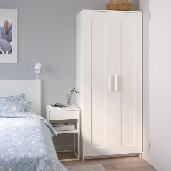"BRIMNES wardrobe with 2 doors white 30 3/4 "" 19 5/8 "" 74 3/4 """