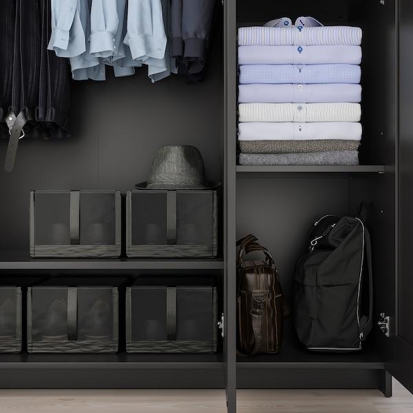 "BRIMNES Wardrobe with 3 doors, black, 46x74 3/4 """