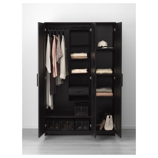 "BRIMNES wardrobe with 3 doors black 46 "" 19 3/4 "" 74 3/4 """