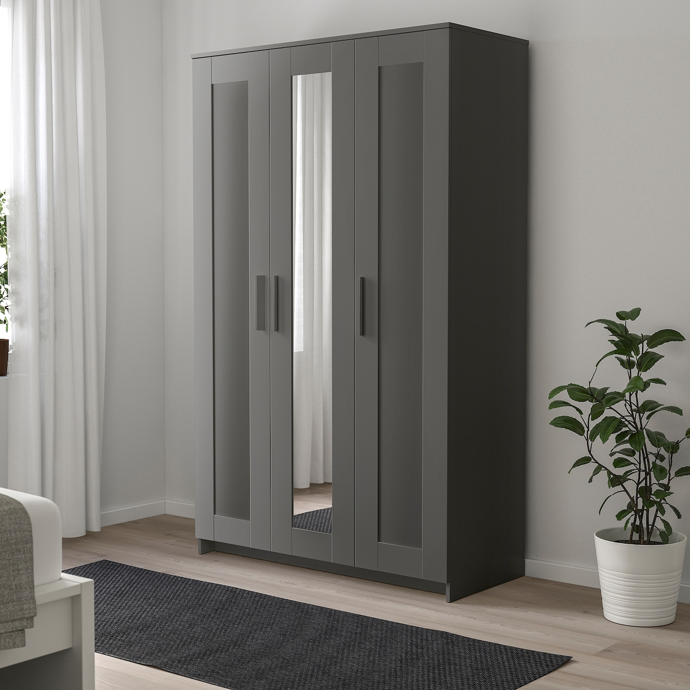 BRIMNES Wardrobe with 3 doors - gray - IKEA