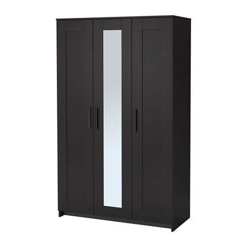 Brimnes wardrobe with 3 doors black ikea for Armoire penderie avec miroir