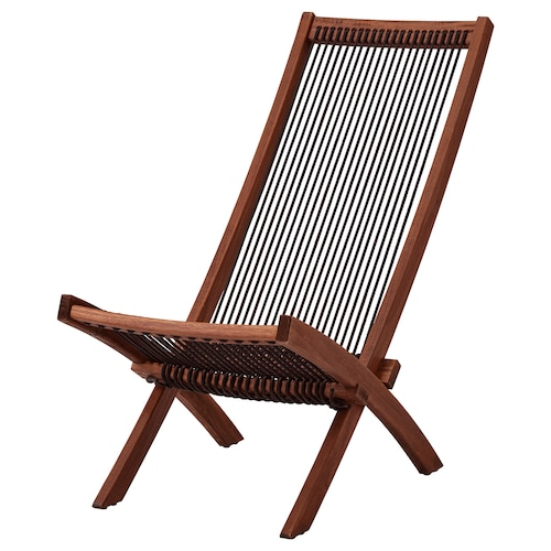 "BROMMÖ chaise, outdoor brown stained 18 7/8 "" 36 1/4 "" 35 "" 16 7/8 "" 15 3/8 "" 16 7/8 """