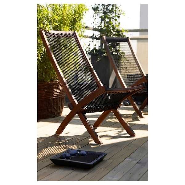 """BROMMÖ chaise, outdoor brown stained 19 1/4 """" 36 1/4 """" 34 5/8 """" 16 7/8 """" 14 5/8 """" 16 1/2 """""""