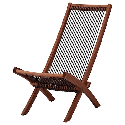 "BROMMÖ chaise, outdoor brown stained 19 1/4 "" 36 1/4 "" 34 5/8 "" 16 7/8 "" 14 5/8 "" 16 1/2 """