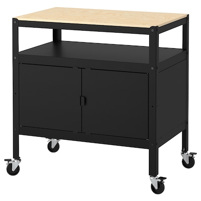 BROR Cart with closed storage, black/wood