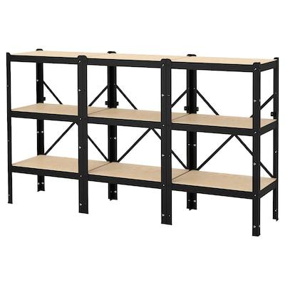 "BROR Shelving unit, black/wood, 76 3/8x15 3/4x43 1/4 """