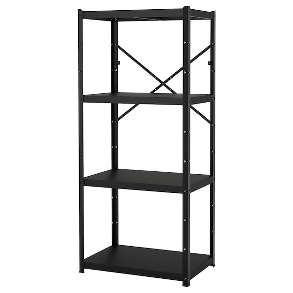 BROR Shelving unit, black, 33 1/2x21 5/8x74 3/4 ""