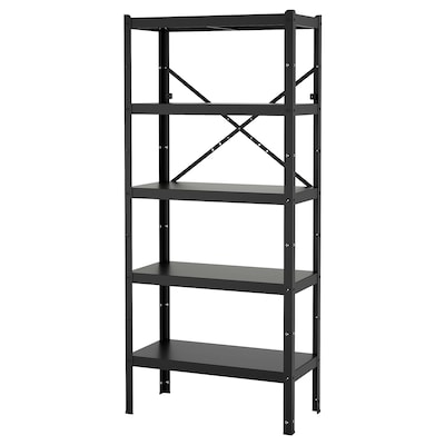 "BROR shelving unit black 33 1/2 "" 15 3/4 "" 74 3/4 """