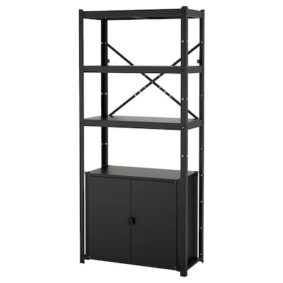 "BROR shelving unit with cabinet black 33 1/2 "" 15 3/4 "" 74 3/4 """