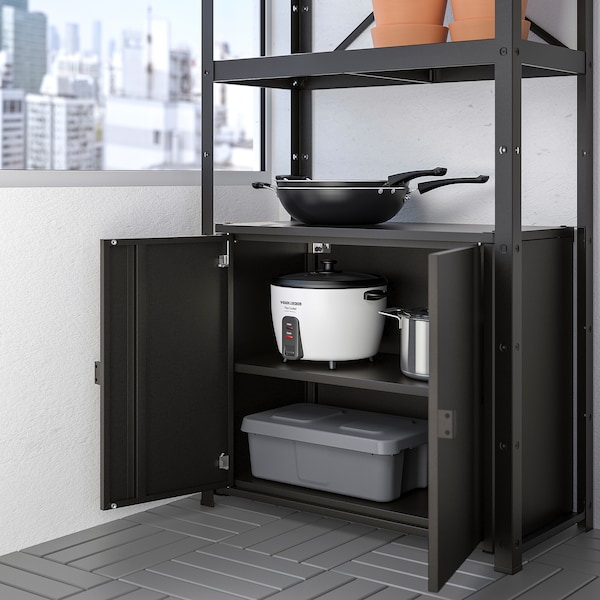 BROR Shelving unit with cabinet, black, 33 1/2x15 3/4x74 3/4 ""