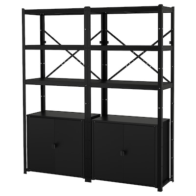 """BROR Shelving unit with cabinets, black, 66 7/8x15 3/4x74 3/4 """""""