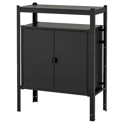 """BROR Shelving unit with cabinets, black, 33 1/2x15 3/4x43 1/4 """""""