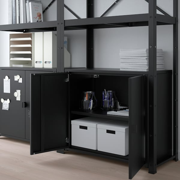 BROR Shelving unit with cabinets, black, 66 7/8x15 3/4x74 3/4 ""