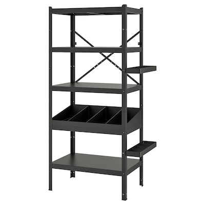 "BROR shelving unit with clothes rails black 33 1/2 "" 21 5/8 "" 74 3/4 """