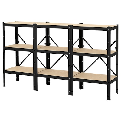 "BROR shelving unit black/wood 76 3/8 "" 15 3/4 "" 43 1/4 """