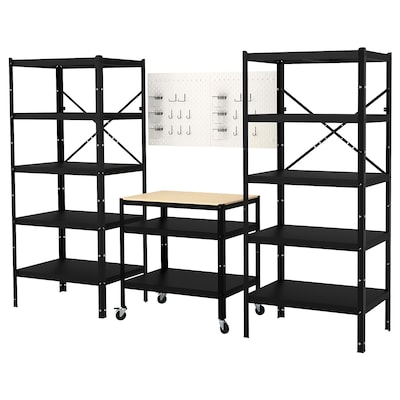 """BROR Storage combo with shelves+cart, 100 3/8x21 1/4x74 3/4 """""""