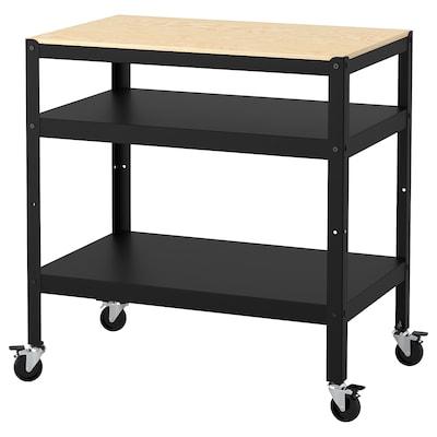 "BROR Utility cart, black/pine plywood, 33 1/2x21 5/8 """