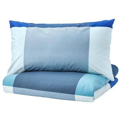 """BRUNKRISSLA duvet cover and pillowcase(s) blue/gray 152 /inch² 2 pack 86 """" 86 """" 20 """" 30 """""""
