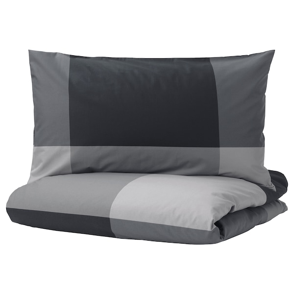 BRUNKRISSLA Duvet cover and pillowcase(s), black, Full/Queen (Double/Queen)