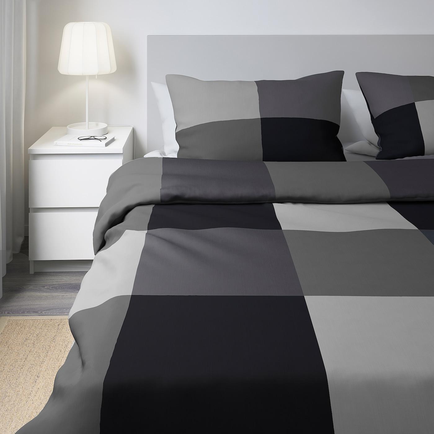 BRUNKRISSLA Duvet cover and pillowcase(s), black, King