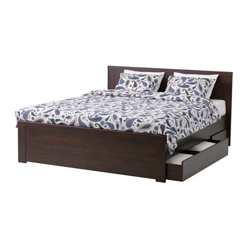 BRUSALI Bed frame with 2 storage boxes, brown, Luröy Queen Luröy