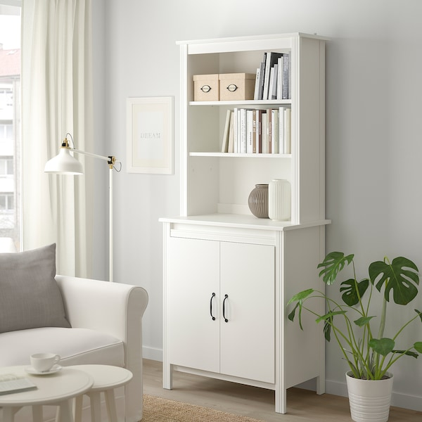 """BRUSALI high cabinet with doors white 31 1/2 """" 18 7/8 """" 74 3/4 """""""