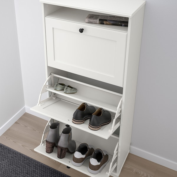 BRUSALI Shoe cabinet with 3 compartments, white, 24x51 1/8 ""