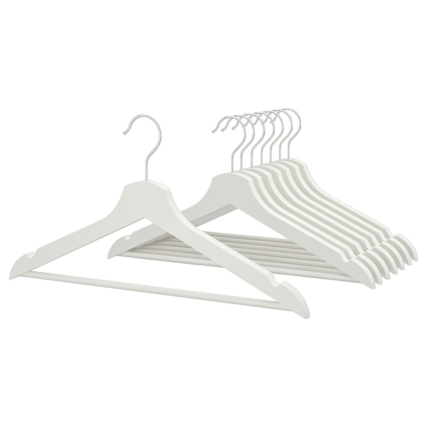 White Bumerang IKEA Hanger Wood Clothes Coat 8 Pack