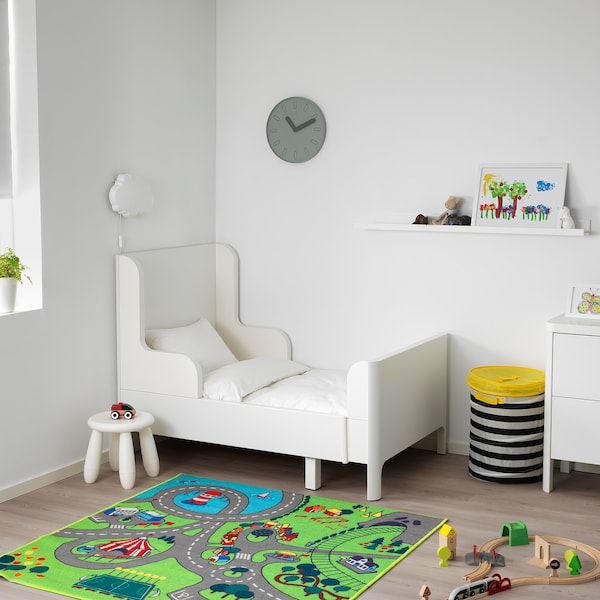 """BUSUNGE Extendable bed, white, 38 1/4x74 3/4 """""""
