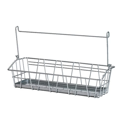 BYGEL Wire basket IKEA Can be hung on BYGEL rail, mounted to the wall or the inside of a kitchen cabinet frame or door.  Saves space on the countertop.