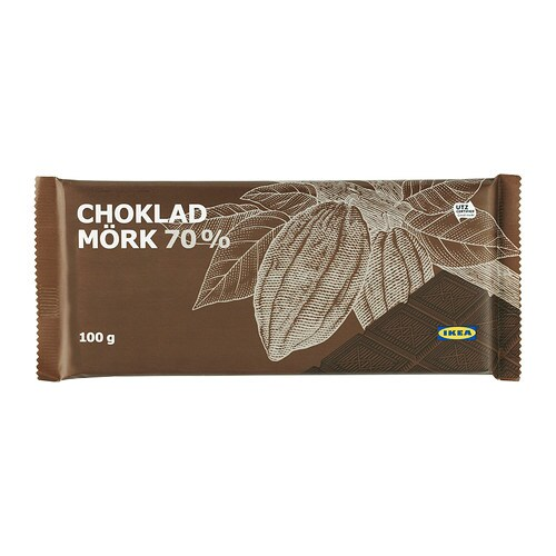 CHOKLAD MÖRK 70% Dark chocolate, 70% IKEA Delicately smooth dark chocolate with 70% cacao content.   The product is UTZ Certified.