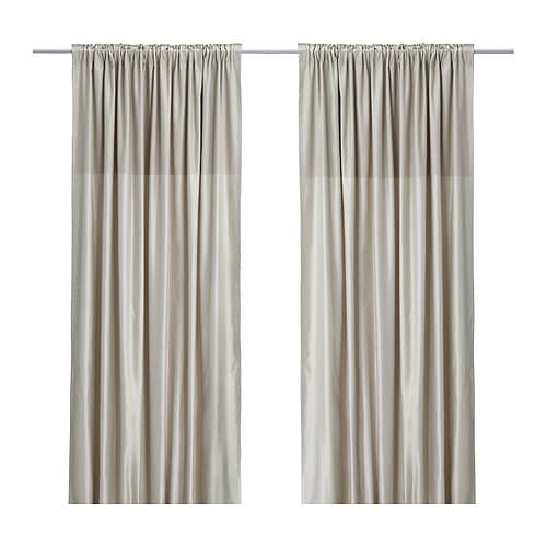 "DAGNY Curtains, 1 pair IKEA Hemmed at 98 3/8"", but can easily be shortened to desired length with iron-on hemming strip."