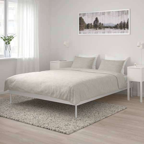 DELAKTIG Bed frame, aluminum, Queen