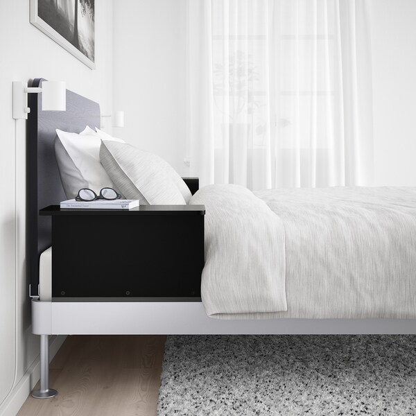 "DELAKTIG bed frame/headboard/2 side tables aluminum/black 81 1/8 "" 77 1/2 "" 39 """