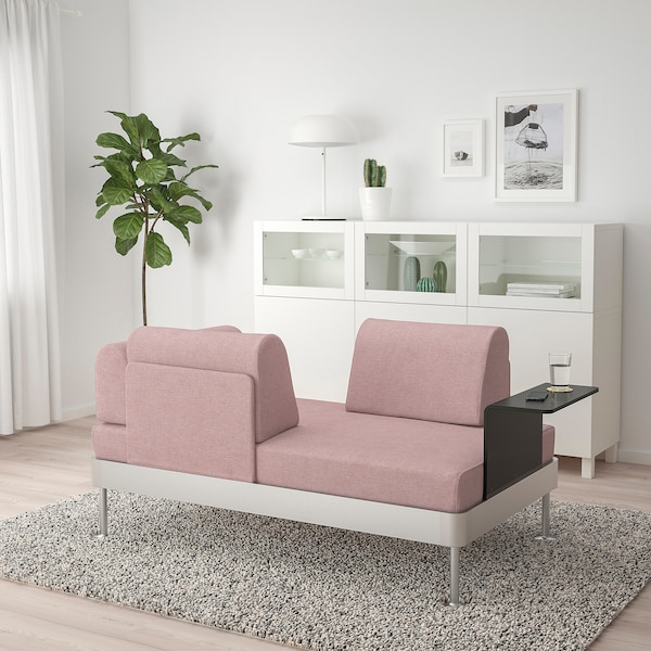DELAKTIG Loveseat with side table, Gunnared light brown-pink