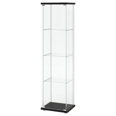 """DETOLF Glass-door cabinet, black-brown, 16 3/4x64 1/8 """""""
